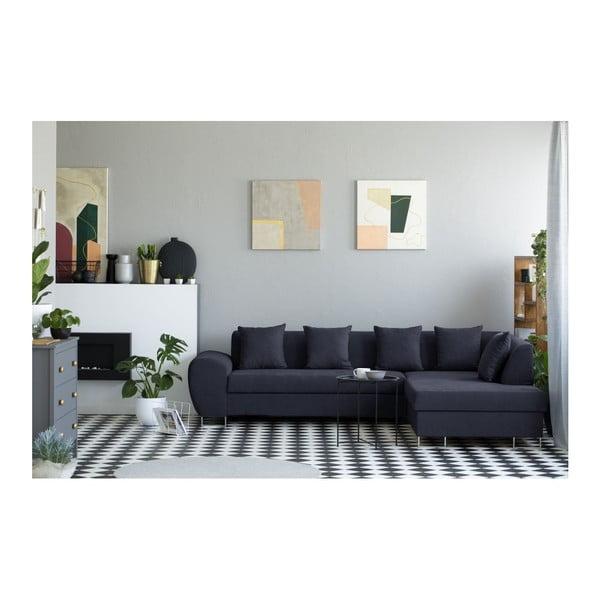 Canapea extensibilă cu spațiu pentru depozitare Kooko Home XL Right Corner Sofa, albastru închis