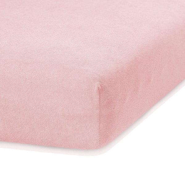 Světle růžové elastické prostěradlo s vysokým podílem bavlny AmeliaHome Ruby, 200 x 160-180 cm