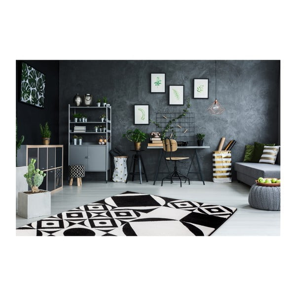 Černobílý koberec Obsession My Black & White Ballo, 120 x 170 cm