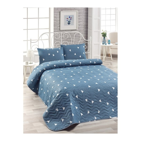 Set cuvertură de pat și față de pernă Mismo Cula, 160 x 220 cm, albastru