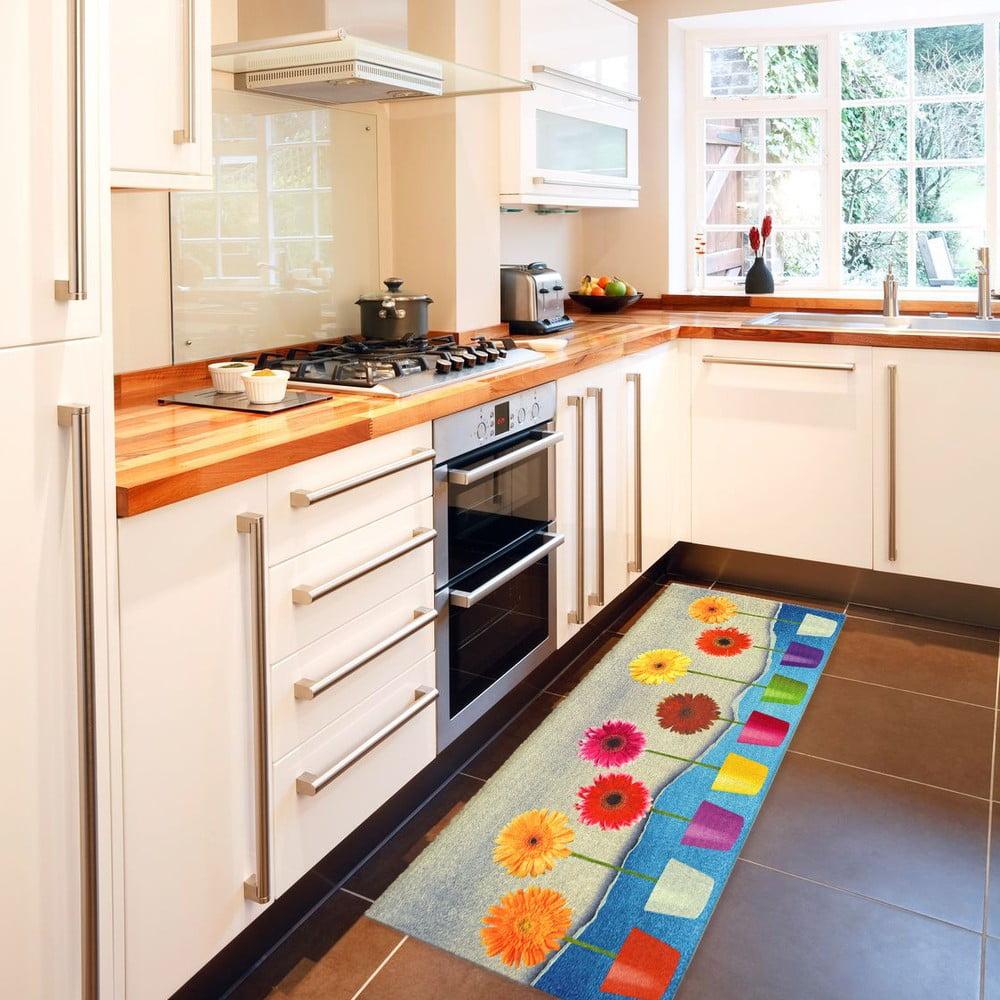 Vysoce odolný kuchyňský koberec Webtappeti Flower Power, 60 x 240 cm