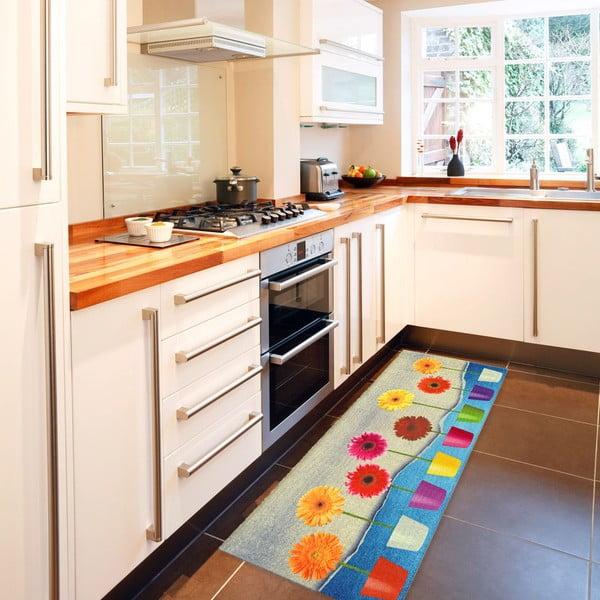 Vysoce odolný kuchyňský běhoun Floorita Flower Power,60 x 140cm