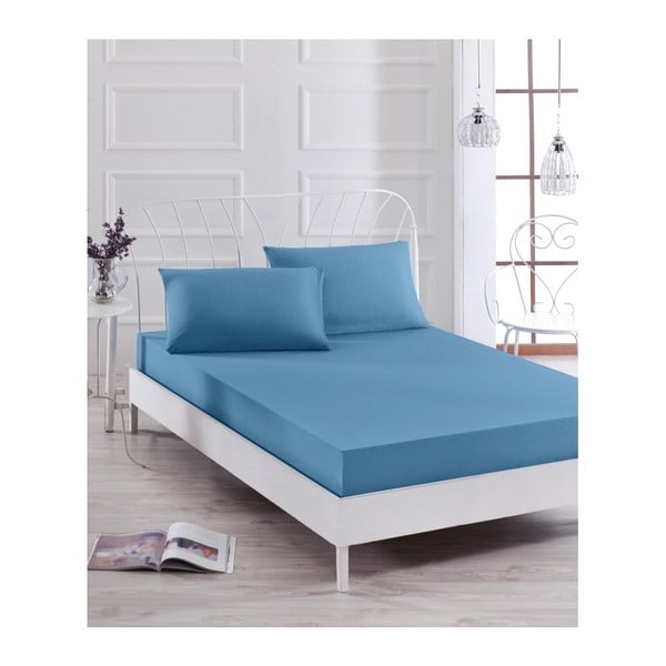 Set modrého elastického prostěradla a2povlaků na polštáře na jednolůžko Basso Azul, 160 x 200 cm