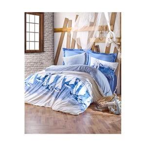 Bavlněné povlečení s prostěradlem na jednolůžko Materro Samilo, 160 x 220 cm