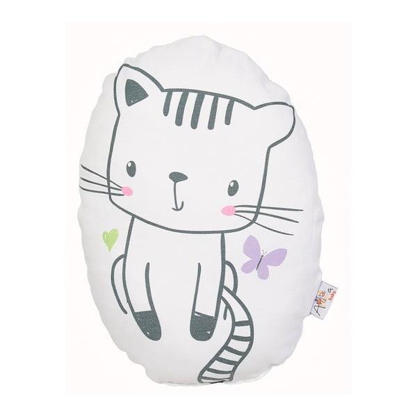 Pernă din amestec de bumbac pentru copii Apolena Pillow Toy Cute Cat, 30 x 22 cm