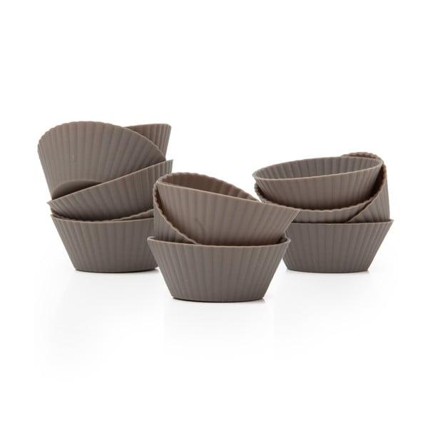 Sada 12 silikonových forem na muffiny Mini Grey Cupcakes