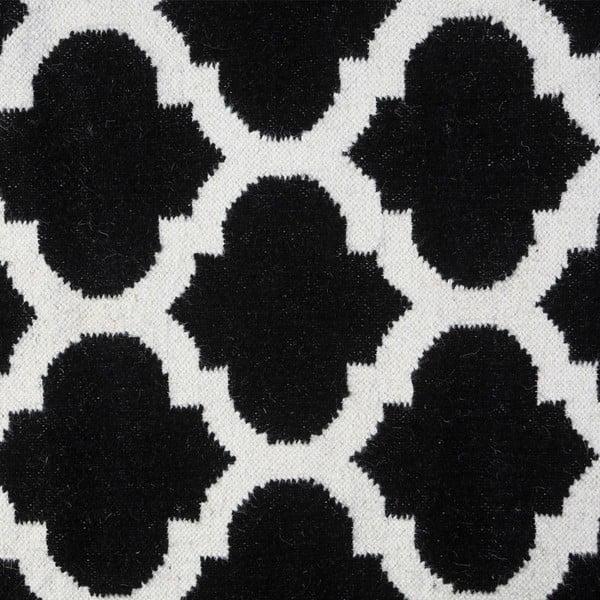 Vlněný koberec Geometry Guilloche White & Black, 160x230 cm