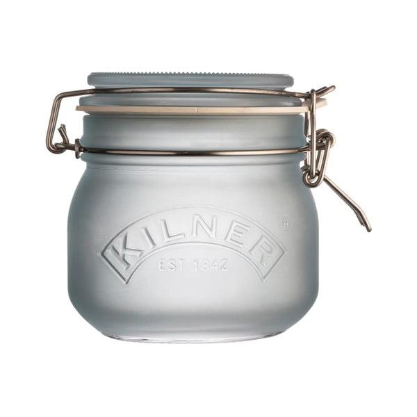 Mléčně modrá sklenice s klipem Kilner, 0,5 l