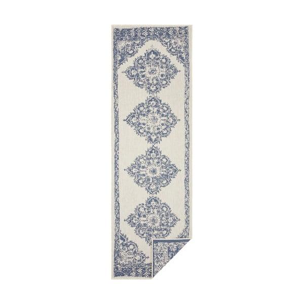Cofete kék-krémszínű kültéri szőnyeg, 80 x 350 cm - Bougari