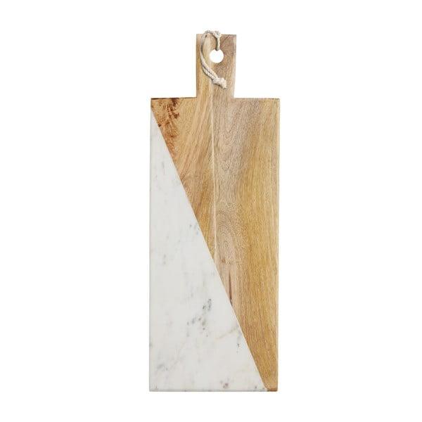 Prkénko z bílého mramoru a mangového dřeva Master Class,49cm