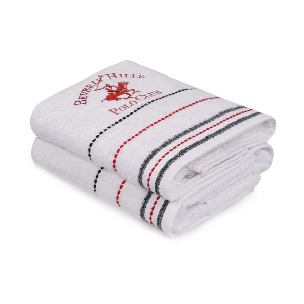Sada 2 bílých ručníku Polo Club
