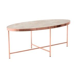 Kovový oválný odkládací stolek se skleněnou deskou InArt Marble