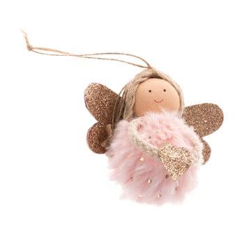Decorațiune textilă suspendată Dakls, lungime 9 cm, roz deschis, înger imagine