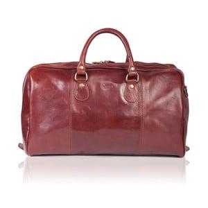 Hnědá lesklá kožená cestovní taška Medici of Florence Enrico