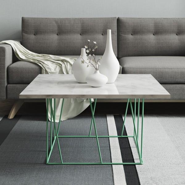 Bílý mramorový konferenční stolek se zelenými nohami TemaHome Helix, 75 cm