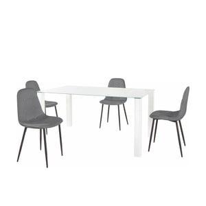 Sada jídelního stolu a 4 šedých židlí Støraa Dante, délka stolu 160cm