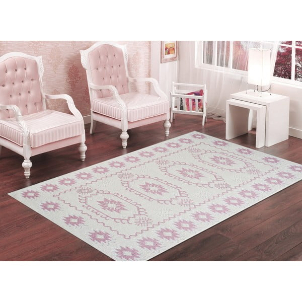 Pudrově růžový odolný koberec Vitaus Dahlia, 80x200cm