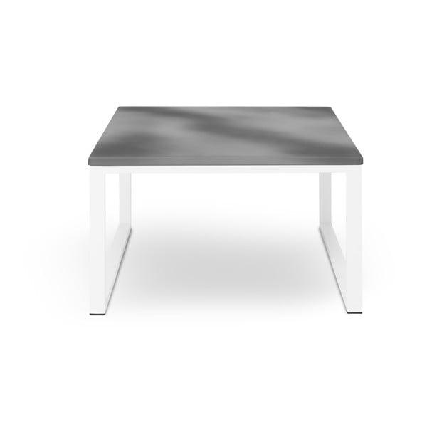 Sivý exteriérový stôl v betónovom dekore a v bielom ráme Calme Jardin Nicea, dĺžka 70 cm