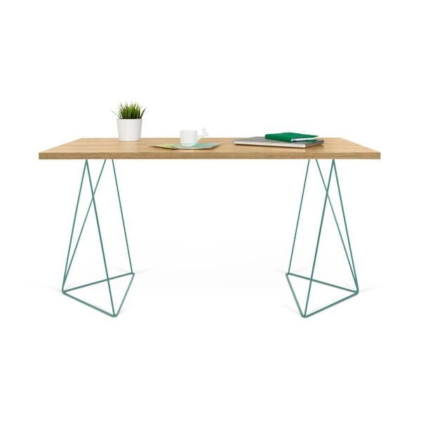 Pracovní stůl se zelenými nohami TemaHome Flow, délka140cm