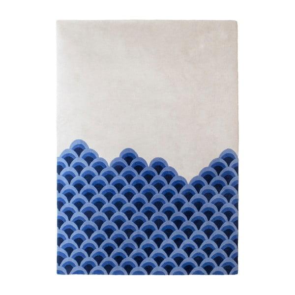 Modro-biely koberec z čistej vlny HARTÔ Marin, 170×240 cm