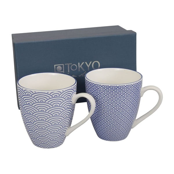Set hrnků Nippon Blue Wave & Squares, 2 ks