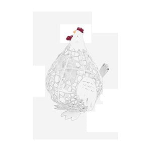 Bílá kovová dekorace ve tvaru slepice Ego Dekor, 10 x 13,5 cm
