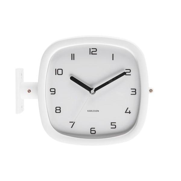 Biały zegar ścienny Karlsson Slides, 29x24,5 cm