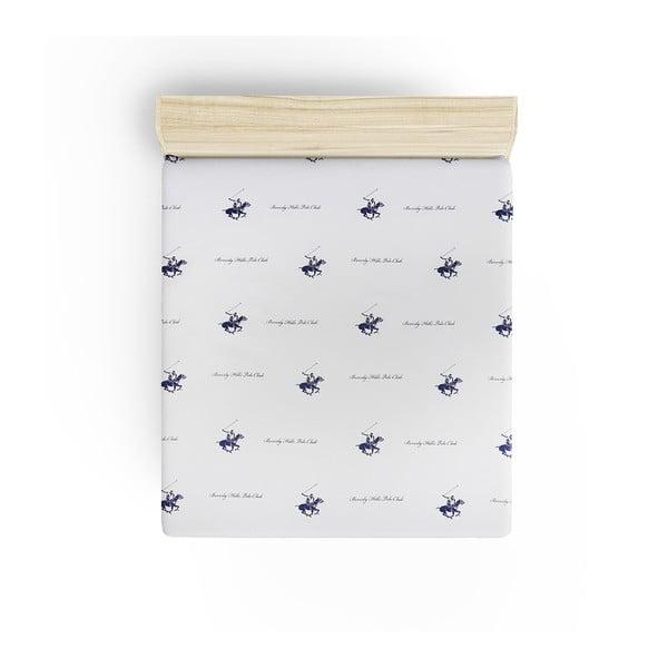 Cearșaf fără elastic Beverly Hills Polo Club Clancy, 180 x 240 cm, detalii albastre