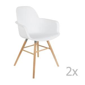 Set 2 scaune cu cotieră Zuiver Albert Kuip, alb