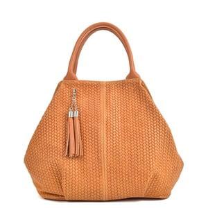 Koňakově hnědá kožená kabelka Mangotti Bags Betania