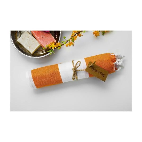 Hammam osuška Myra, oranžová/bílá