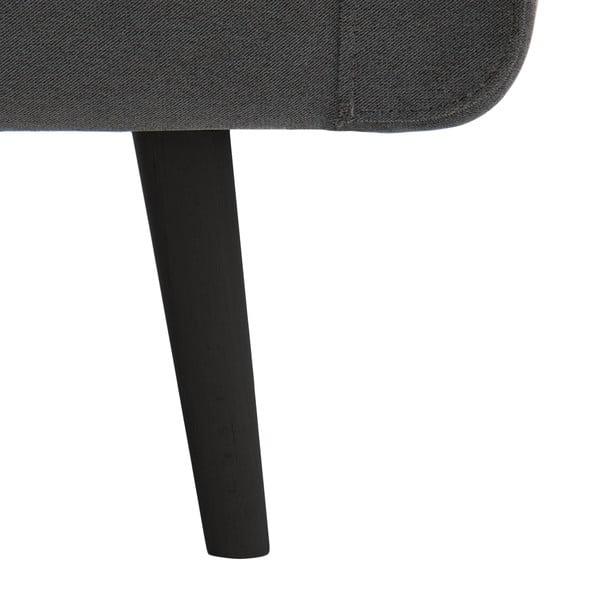 Světle šedá trojmístná pohovka Vivonita Sondero, levá strana a černé nohy