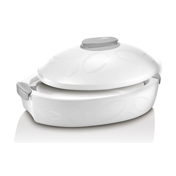 Cutie termică ovală cu vas de coacere Enjoy Gourmet, 3 l, alb