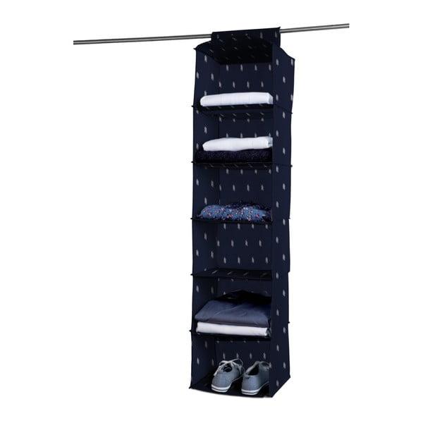 Tmavě modrý závěsný organizér s 6 přihrádkami Compactor Kasuri Range, šířka 30 cm
