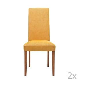 Sada 2 žlutých jídelních židlí s podnožím z bukového dřeva Kare Design Rhytm