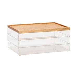 Sada 3 průhledných úložných boxů s víky z dubového dřeva Hübsch Eluf