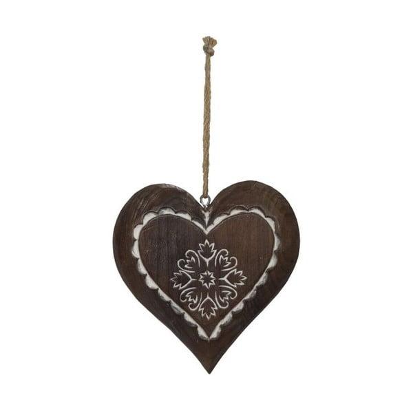 Decorațiune suspendată din lemn Antic Line Winter Time Heart Small