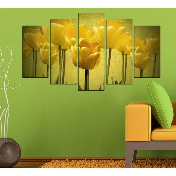 5dílný obraz Žluté tulipány