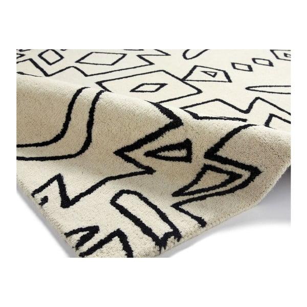 Vlněný koberec Spectrum White Black, 150x230 cm