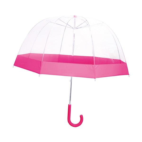 Dětský transparentní holový deštník s růžovými detaily Birdcage, ⌀58cm