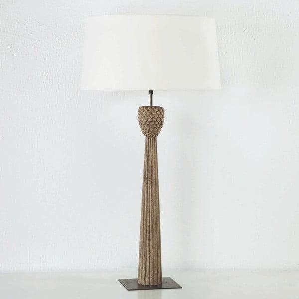 Veioză din lemn cu abajur alb Thai Natura, înălțime 96cm