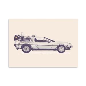 Plakát Delorean - Back To The Future od Florenta Bodart, 30x42 cm