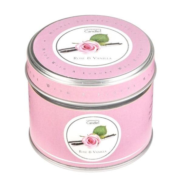 Aroma svíčka v plechovce s vůní růže a vanilky Copenhagen Candles, doba hoření 32 hodin