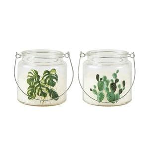 Sada 2 svíček ve skleněné nádobě s potiskem Villa Collection