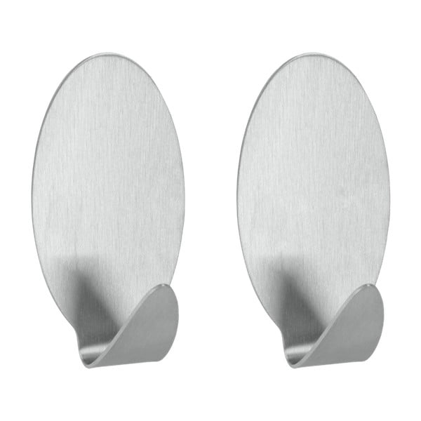 Mia 2 db-os rozsdamentes acél öntapadós akasztó szett - Metaltex