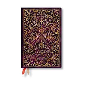 Agendă pentru anul 2020, cu copertă tare Paperblanks Aurelia, 368 file, vișiniu de la Paperblanks