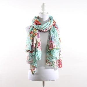 Šátek s květy a puntíky, modrý