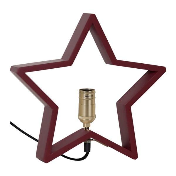 Tmavě červená dřevěná svítící hvězda Best Season Lysekil, 30 x 29 cm