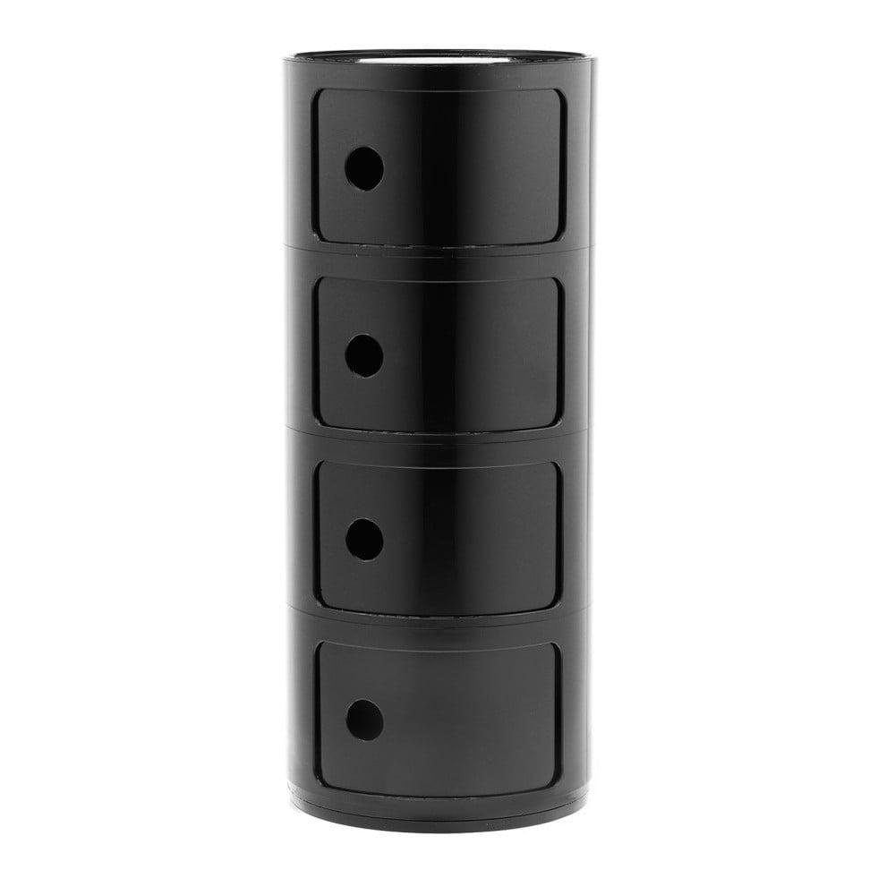 Černý kontejner se 4 zásuvkami Kartell Componibili