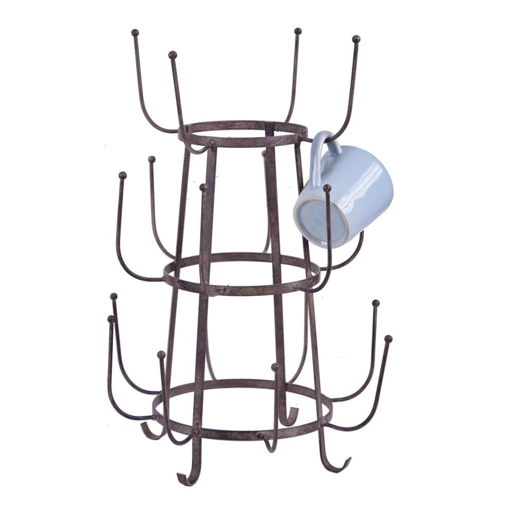 Hnědý třípatrový stojan na hrnky Ego Dekor Holder, výška 30 cm